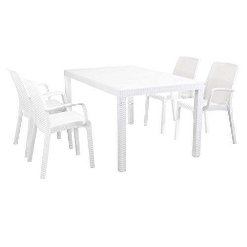MilaniHome Set Tavolo da Giardino Rettangolare Fisso Cm 150 X 90 con 4 Poltrone con Braccioli in Wicker Stampato Bianco da Esterno