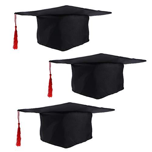 LUOEM 3 gorros de graduación para niños disfraz accesorio gorro de doctor con borla roja para niños