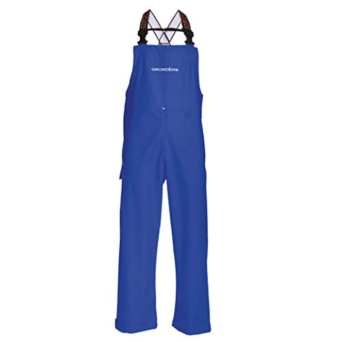 Grundens Men's Neptune Commercial Fishing Bib Pants | Waterproof, Adjustable, Ocean Blue, Large