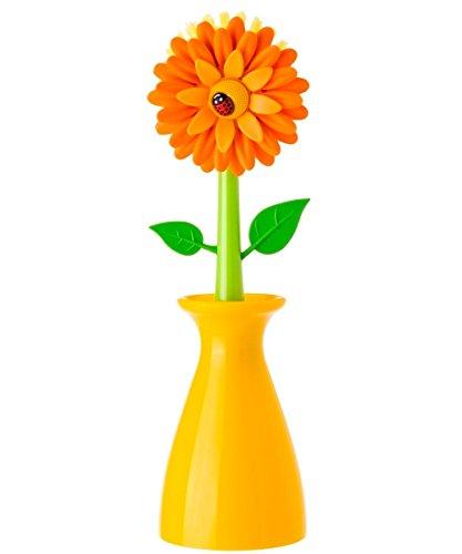 VIGAR Stoviglie 7200 Flower Power Spazzola di plastica Vaso di Colore Arancione 5 x 5 x 15 cm