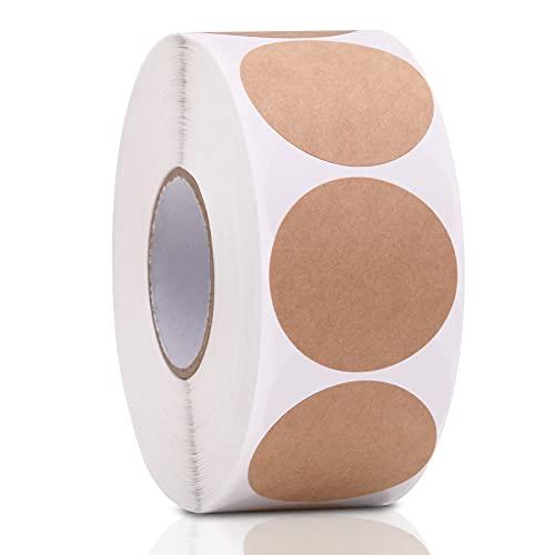 Binswloo - 1000 etiquetas de papel kraft redondas autoadhesivas de 38 mm para tarros de sellado y decoración de manualidades, color marrón, 1.5 pulgadas
