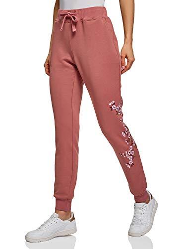 oodji Ultra Mujer Pantalones de Punto con Cordones, Rosa, M