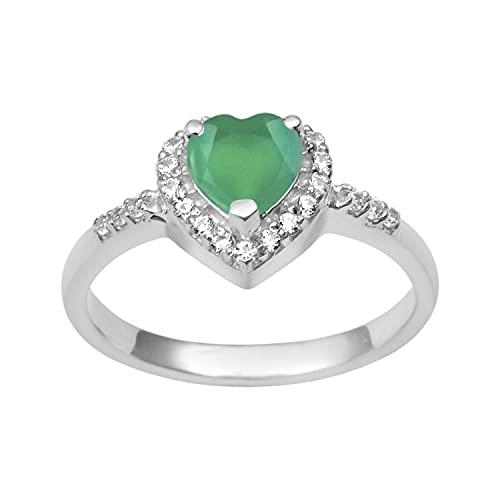 Shine Jewel Multi Elija su Anillo de Acentos de Solitario de Plata de Ley 925 con Forma de corazón de 5 mm (13, Ónix Verde)
