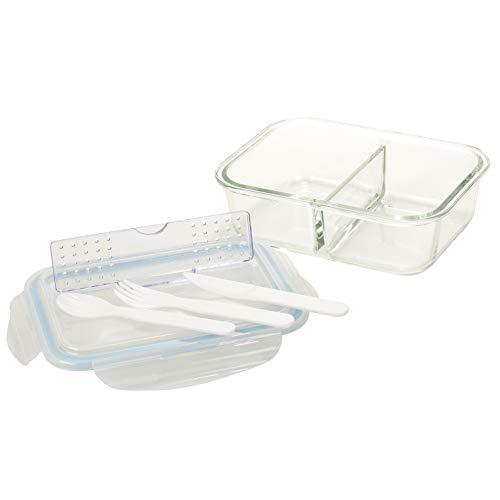 Contenant de conservation des aliments en verre Homiu 2 compartiments avec couvercle comprenant couteau, fourchette et cuillère gratuits Étanche à l'air Étanche