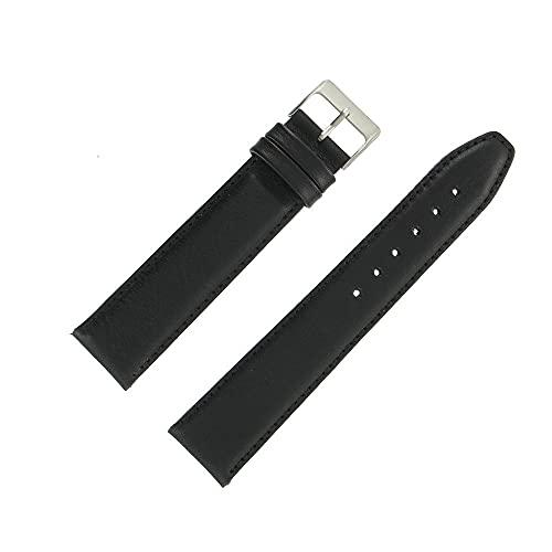 OnWatch - Correa de reloj de 20 mm, color negro, extra larga, piel auténtica, fabricación artesanal
