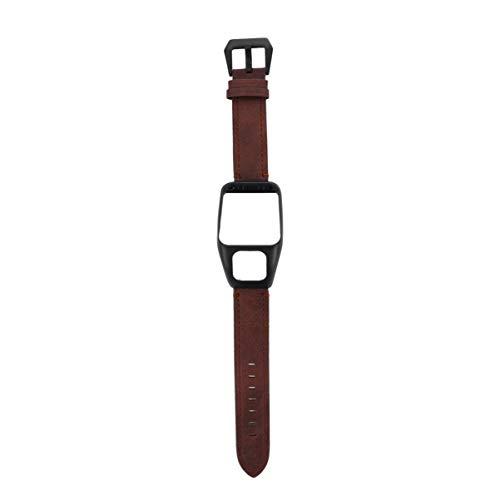 NICERIO compatibile con Tomtom Runner 3 & Tomtom Adventurer – Cinturino di ricambio in pelle con custodia protettiva – GPS Smart Watch Accessories