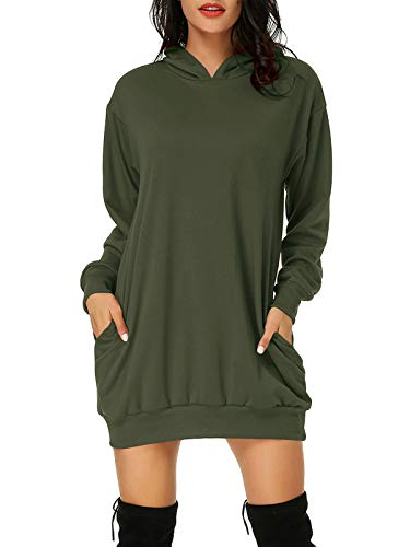 Auxo Sudadera con Capucha Tallas Grandes Mujer Pullover Hoodie Jersey Larga Bolsillos Manga Larga Casual Sudadera Vestido Invierno Tops Color Sólido Ejercito Verde M