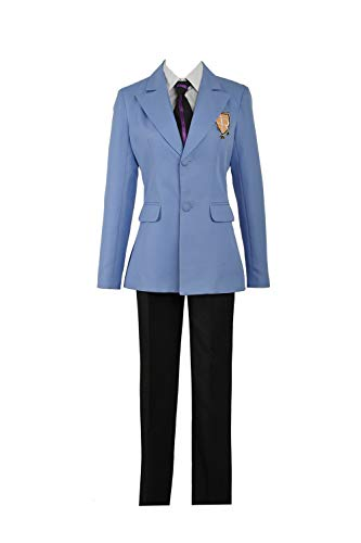 Cos-Love Ouran High School Fujioka Haruhi Cosplay Costume,Adult Uniform Blazer Shirt Pants Tie Suit Halloween Dress Up Blue