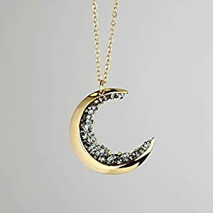Dainty Jewelry Gold Crescent Moon Necklace Black Diamond Necklace Graduation Gift Gift for Her Celestial Halloween…