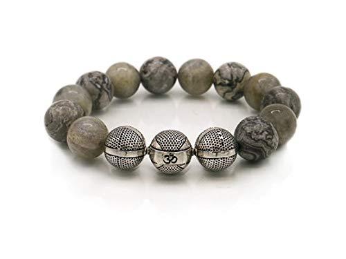 Pulsera de piedras preciosas, jaspe gris Picasso con mezcla de laboratorio, 14 mm, pulsera para hombre, plata de ley 925