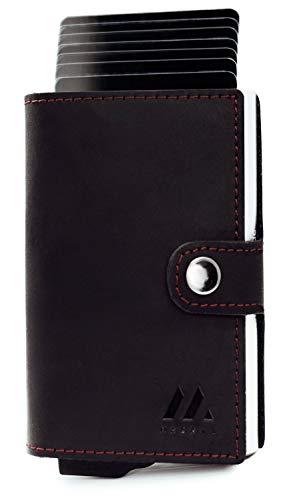 MAGATI Slim Wallet ZILA - Kreditkartenetui mit Münzfach - Geldbörse, Geldbeutel aus Echt-Leder mit Fundservice, Geldscheinfach und RFID-Schutz Schwarz Matt