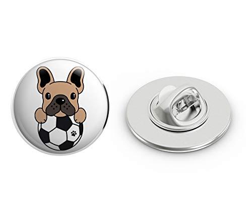 BRK Studio Cute Soccer Frenchie French Bulldog Cartoon Emoji Round Metal 0.75' Lapel Pin Hat Shirt Pin Tie Tack Pinback