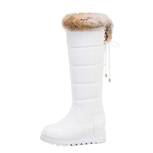 Botas de Invierno para Mujer, Botas de Nieve cálidas de Felpa con tacón Oculto, Botas de Invierno de tacón Plano, Botas de Piel para Mujer Impermeables por Encima de la Rodilla