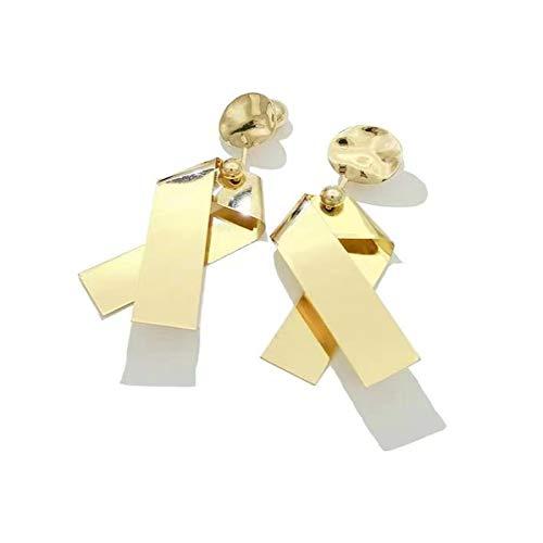 Pendientes bohemios para mujer de 11,5 cm de aleación dorada con patrón de geometría bohemia para mujer, pendientes de gota bohemios para mujer, estilo europeo y americano, 11.5CM, Zinc,