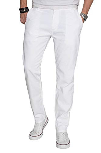 A. Salvarini Herren Designer Chino Stoff Hose Chinohose Regular Fit AS016 AS-016-Weiss-W33-L32