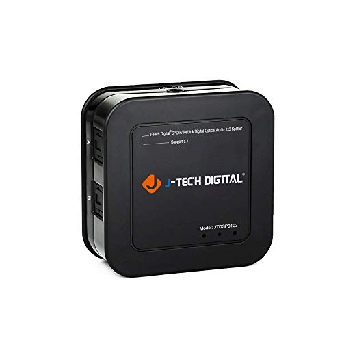 J-Tech Digital Premium Quality SPDIF TOSLINK Digital Optical Audio 1x3 Splitter (One Input 3 Outputs)