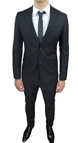 Mat Sartoriale Vestido Completo para Hombre, Color Negro, Slim Fit, Ajustado, Nuevo y Elegante Ceremonia Negro 54