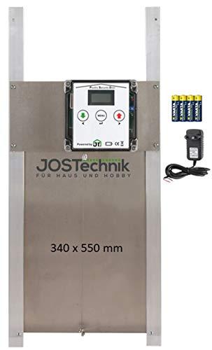 JOSTechnik Poultry Security Door PSD-RG als Rahmengerät mit selbstverriegelnder Gänseklappe 340 x 550 mm und echter Nothaltfunktion für Batteriebetrieb oder Netzteil, mit Zeitschaltuhr