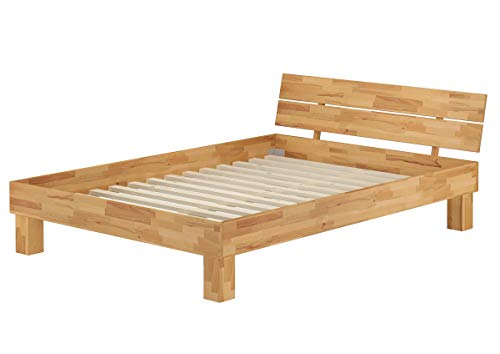 Erst-Holz® Doppelbett Futonbett 140x200 Französisches Bett Buche massiv mit Rollrost 60.80-14