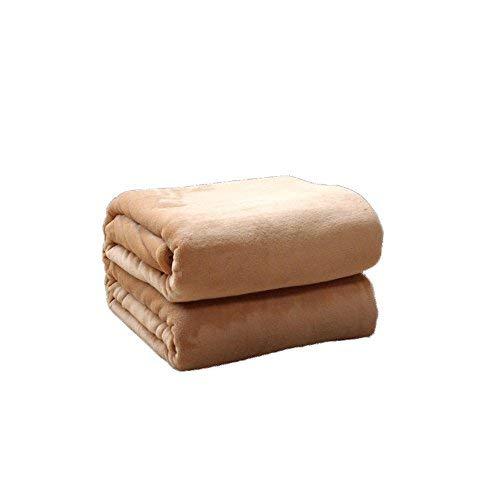 Willlly Asl flanellen deken, verdikking, lente en casual, herfst, chic, twee seizoenen, eenkleurig, winter, warm houden, bladeren, studentendeken, middagpauze, deken, camel, kleur individuele dubbeldeken, 1