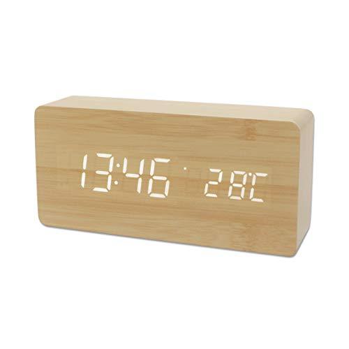 YIFKOKO Wecker digitaler LED Wecker Holz Tischuhr Mit Sprachsteuerung/Datum/Temperatur/Einstellbarer Helligkeit für Zuhause, Schlafzimmer,Nacht,Kinder und Büro