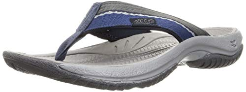 KEEN Men's Kona Flip Flop Beach Sandal, Midnight Navy/Steel Grey, 9.5