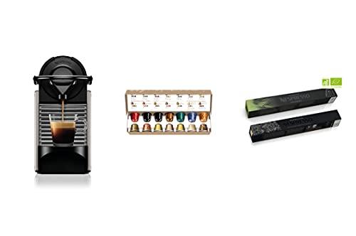 Krups Nespresso Pixie titane + 52 capsules Nespresso offertes, Machine à café 0,7 L, Café filtre Espresso, Cafetière, Capsule de café, Espresso, Style Barista YY4799FD