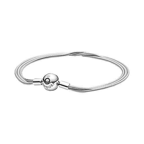 Pandora Moments Mehrreihiges Schlangen-Gliederarmband aus Sterlingsilber, Länge: 18cm, 599338C00-18