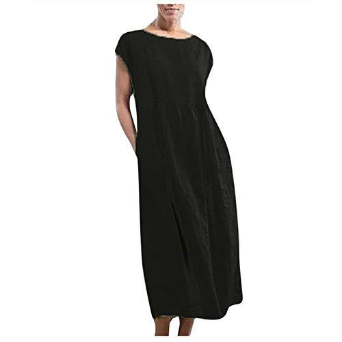ReooLy Women's plus size maxi dress Solid Sleeveless O-neck Pockets cotton Linen Loose Baggy beach Dress(Black,XXX-Large)