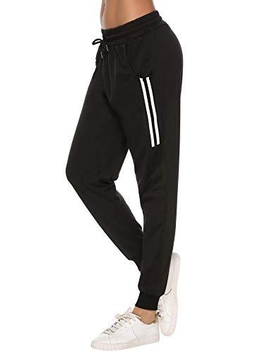 Sykooria Damen Jogginghose Sporthose Lang Yoga Hosen Freizeithose Laufhosen Baumwolle High Waist Trainingshose für Frauen mit Streifen-Streifen B-schwarz-M