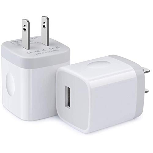 One Port Wall Charger,2 Pack Ehoho 1A Single Port USB Charging Block Cube Compatible for iPhone XR XS Max 8/7/6S Plus SE/5S/5C, Samsung S10 S10 Plus S10e S9 S8, LG, HTC, Sony, Motorola, S21 Ultra 5G