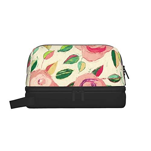 Neceser de baño Estuche de maquillaje Organizador de cosméticos Bolsos de aseo colgantes de viaje (Rosas pastel en rosa rubor y crema)