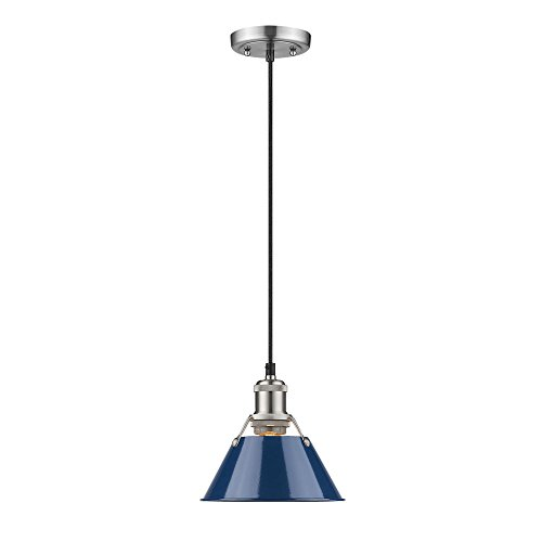 Golden Lighting 3306-S PW-NVY Orwell Mini Pendant, Pewter...