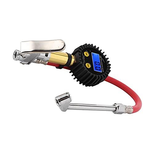 Jacksing Medidor de presión para inflador de neumáticos, Inflador de neumáticos Digital Bomba de Aire para neumáticos Diseño de Mandril de Doble Cabezal Probador de presión de inflador de Aire
