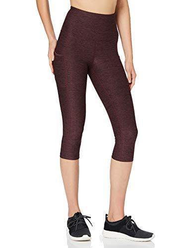 Marca Amazon - AURIQUE Mallas para Correr Capri con Tiro Alto Mujer, Rojo (Port Marl), 42, Label:L