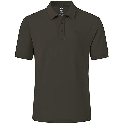 MoFiz Herren Poloshirt Kurzarm Baumwolle Polohemd Sport Polo Sommershirts Atmungsaktiv Dunkelkhaki L