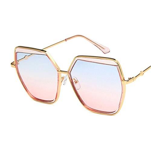 ZZOW Occhiali da Sole da Donna Anti-UV Quadrati Oversize retrò Occhiali da Vista Irregolari in Metallo Montatura con Lenti Sfumate Occhiali da Sole Occhiali da Sole Oculos
