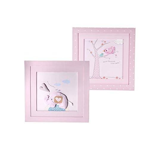 Mousehouse Gifts Set di Due Immagini incorniciate Rosa Pastello realizzate a Mano da Parete per Decorare la cameretta dei Bambini