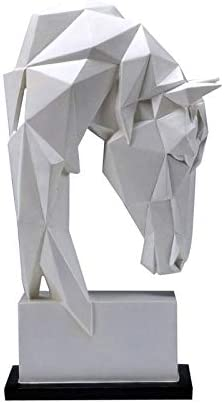 Limited price JJSPP New Shipping Free Shipping Simplicity Geometric White Horse Statues Art Animals Head
