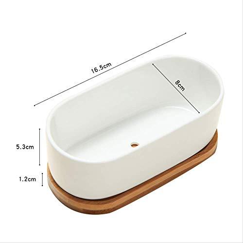 Succulent keramiek kleine bloempot set combinatie Rechthoekig Binnen witte pot As shown Oval Wooden Stand Set