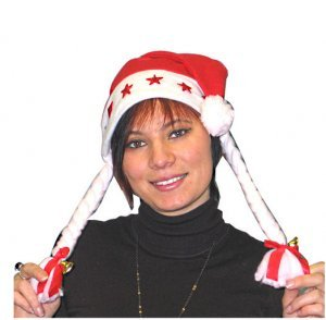 1Weihnachtsfrau-Mütze, beleuchtet, mit Zöpfen, Schleifen und Glöckchen T/U