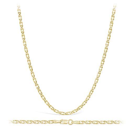 Collana in oro giallo, a maglia barbazzale, oro 14 carati / 585,larghezza 2,20mm,lunghezza a scelta e Oro giallo, colore: oro giallo, cod. 14TH-01