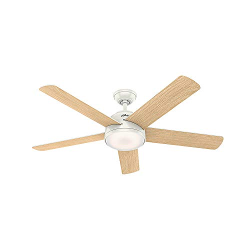 """Hunter Romulus Indoor Wi-Fi Ceiling Fan with LED Light and Remote Control, 54"""", Fresh White"""