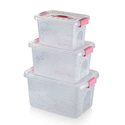 C-J-Xin Driedelig pak Storage Box, Kleding Quilt Schoenen Storage Box Shoe Store Warehouse Grote, middelgrote en kleine Vier kleuren Opslag & Organisatie (Color : Pink)