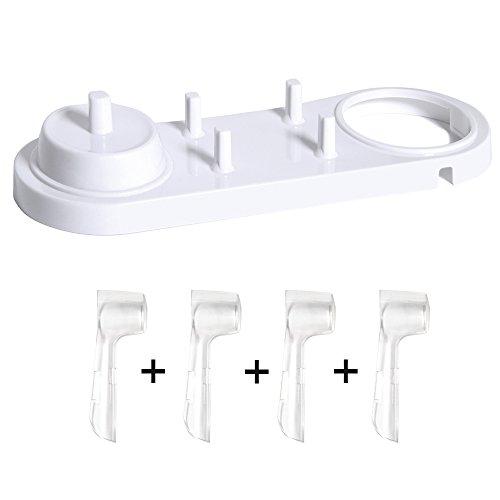 Nincha - Soporte para cepillo de dientes eléctrico con soporte para cepillo de dientes eléctrico+4 protectores de cabezales de cepillo de dientes para Oral-B