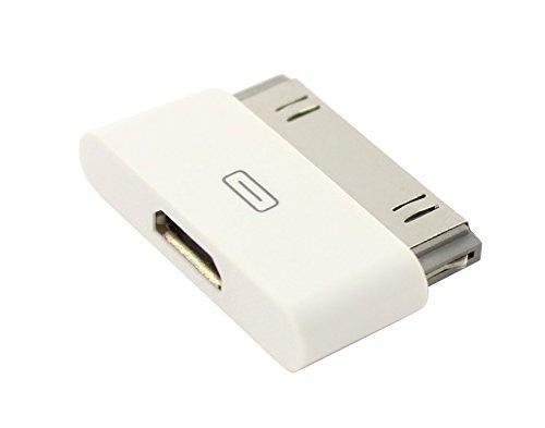 IPRIME Micro USB Adapter passend für iPhone 4, 4S, 3, 3G, 3GS / iPod Touch/iPad 1, 2, 3 - Datentransfer und Aufladung - in Weiß