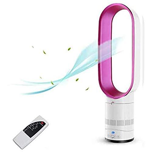 ZLZNX Ventilatori da Terra Senza Pale Ventilatore Silenzioso Oscillante con Telecomando per Casa Ufficio Scrivania,Rosa