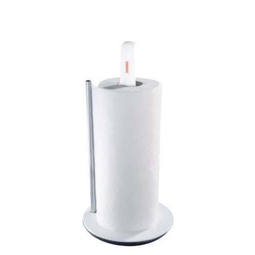 Leifheit Küchenrollenhalter ComfortLine-Serie, praktischer Standrollenhalter, Abreißen mit nur einer Hand dank Federmechanismus, Papierrollenhalter, stand- und rutschsicher, Küchenpapierhalter
