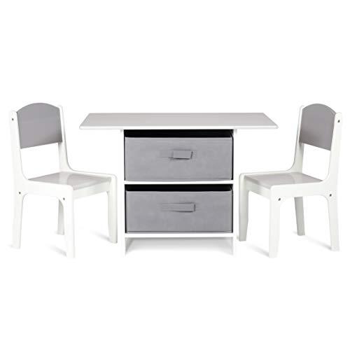 Milliard Kindersitzgruppe, Kindertisch mit 2 Stühle - Holz Kindermöbel Sitzgruppe mit Stauraum, Natur Weiß und Grau