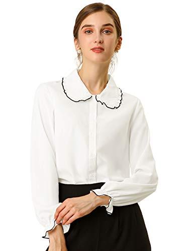 Allegra K Women's Sweet Ruffle Peter Pan Collar Long Sleeves Button Up Shirt S White